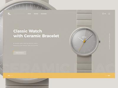 Clock Shop website design web watches ux clock ui shop product landing e-commerce
