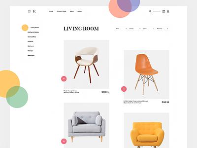 Furniture Collection website web ux ui store shop product landing furniture e-commerce colour color