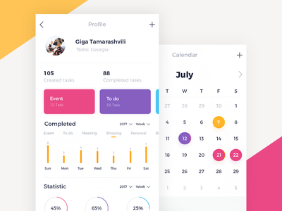 To Do App UI tamarashvili giga reminder to do ui mobile ios calendar color event app