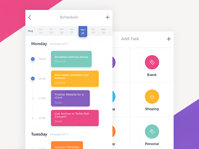To Do App UI ui do to reminder mobile ios event color calendar app