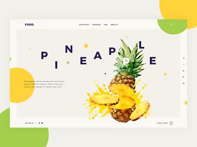 Food Web designer tamarashvili giga less is more pineapple landing inspiration fruit food colour color