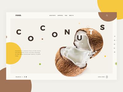 Food Web tamarashvili giga dribbble coconuts clean color colour food fruit inspiration landing pallete