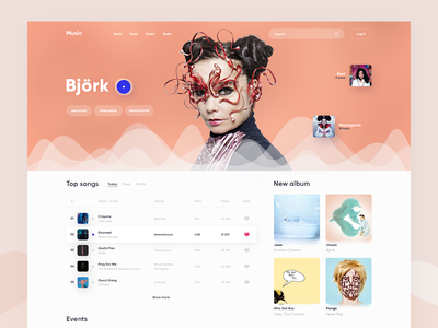 Music UI spotify playlist album play artist landing player web music