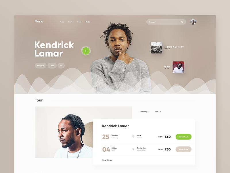 Music UI music web player landing artist play album playlist spotify