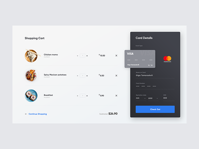 Shopping Cart UI shopping cart checkout page e-commerce cake food ecommerce bag buy product checkout shop cart