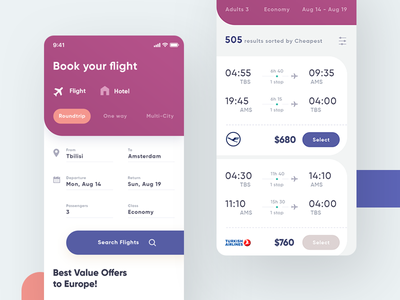 Travel App UI ios booking colors color flight travel app