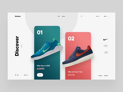 Shotime sneakers fashion checkout e-commerce inspiration tamarashvili shop cart landing store ecommerce colors sneaker shoe nike