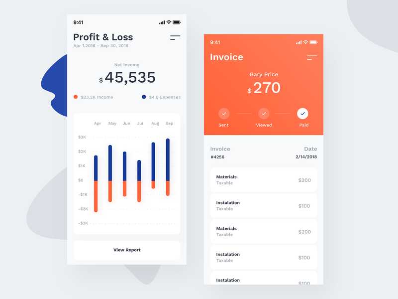Business App UI finance white send pay stat chart invoice bank business app business