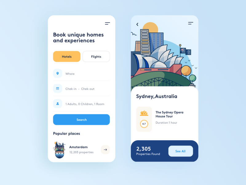 Booking App UI mobile app mobile travel app booking app find search australia place trip travel booking