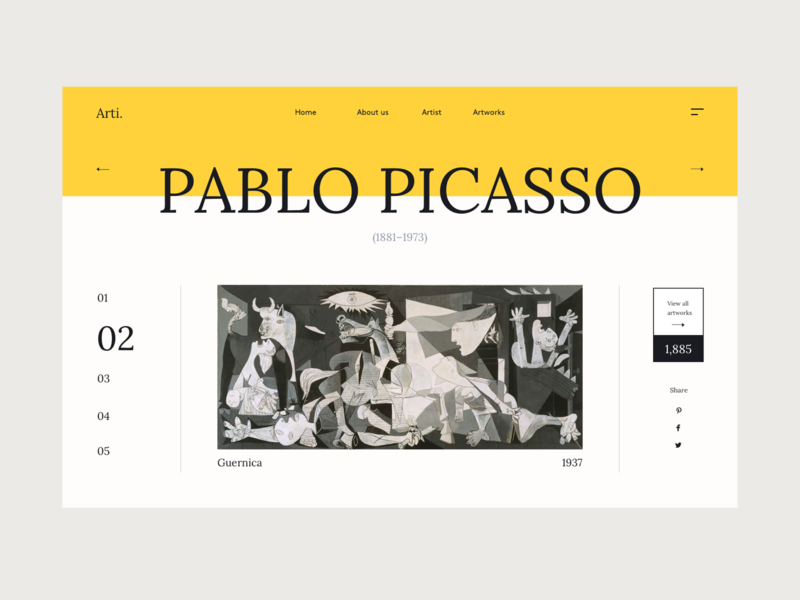 Arti. layout artists website webdesign web design artist workshop style picasso art