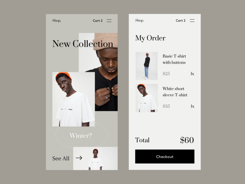 Shop App UI photography store fashion cart checkout shopping cart buy ecommerce shop