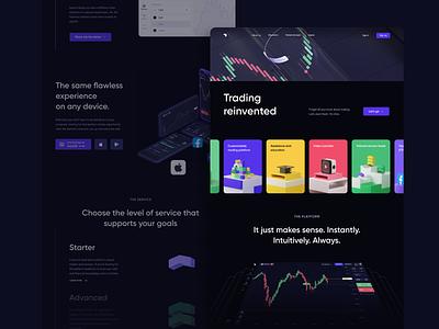 Broker's home page landing page dark blockchain website design cfd forex crypto website landing web design ux ui finance