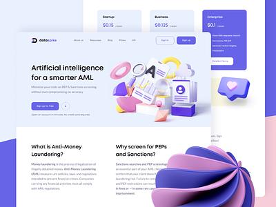 Data Spike Product Design web landing page app data visualization billing landing database data finance