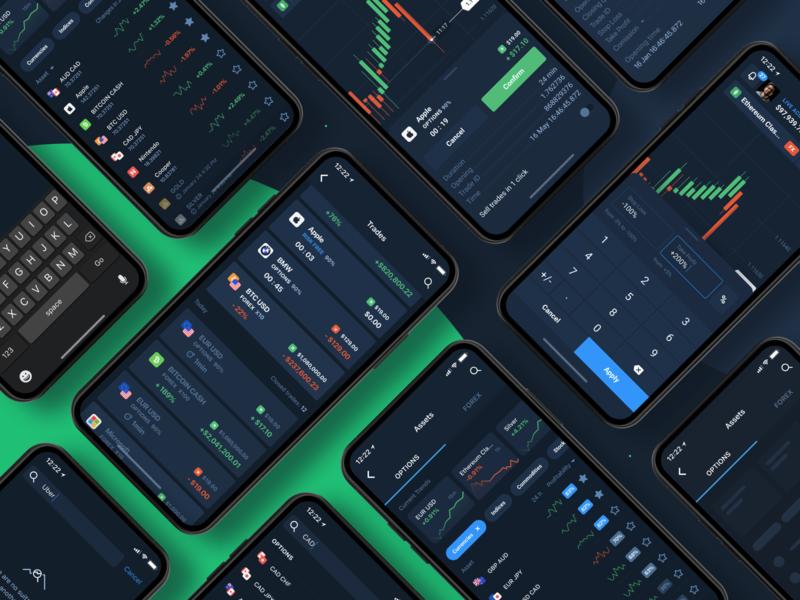 Assets & Trades app design app cards card asset assets dark theme dark mode dark ui green blockchain bitcoin crypto ux design ui finance
