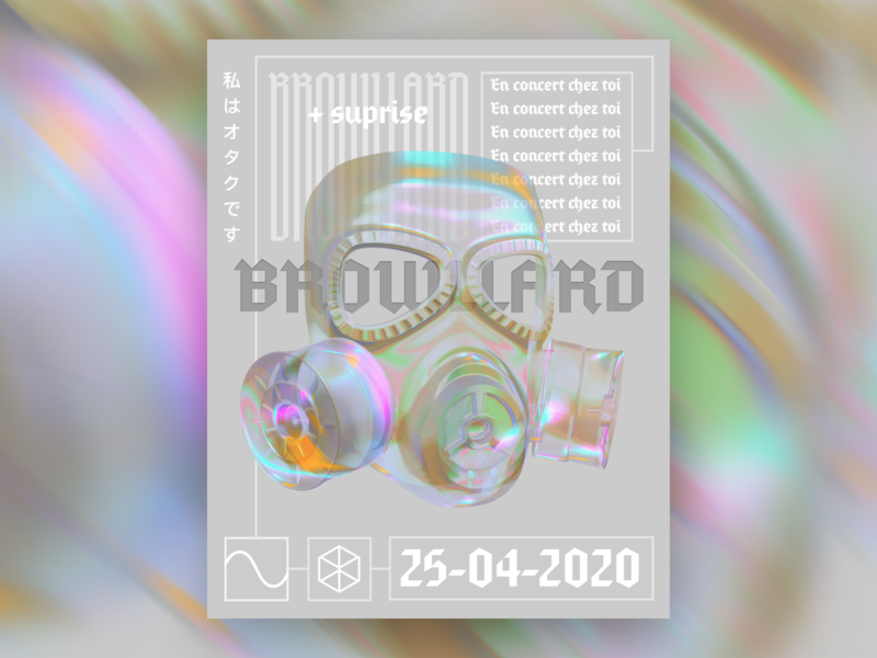 Brouillard 3D Poster Static future 3d glass rainbow pandemic lockdown facemask