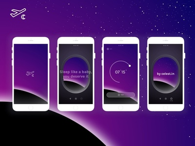Sleepjet Mobile App mockup iphone mobile ux ui sleep plane minimal gradient sky space ambient