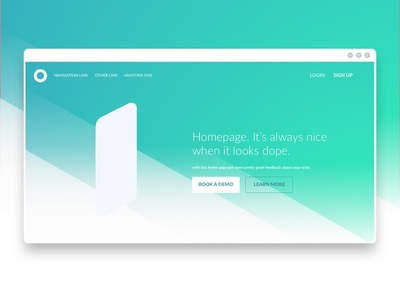 Homepage Concept simple blue green ux ui minimal gradient focus concept home homepage