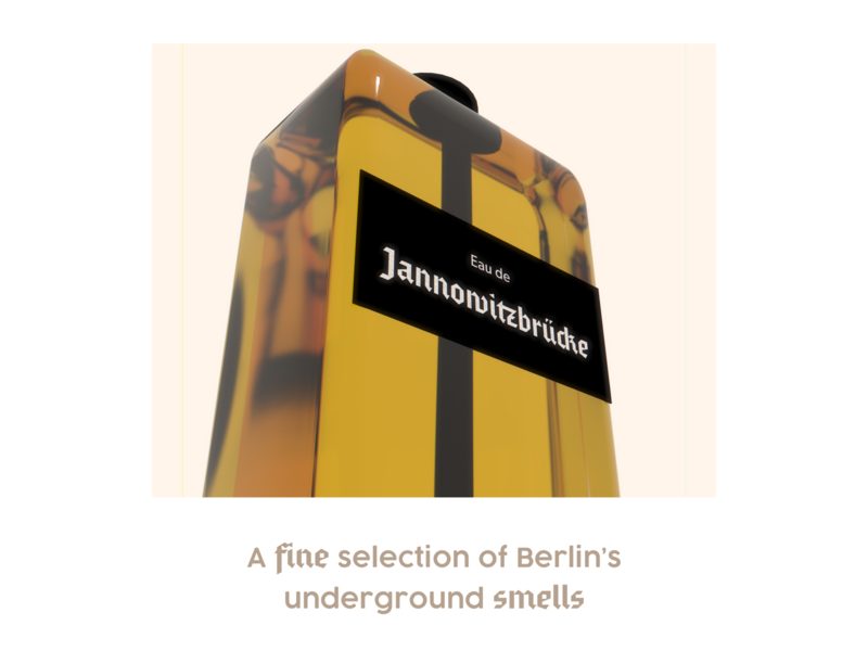 Eau De Jannowitzburcke glass smelly perfume underground weird smell berlin 3d