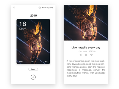 Happy Diary fashion simple light minimalist ux adobe xd design ui