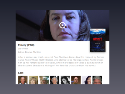 Movie - Misery design book play misery ux ui card video trailer film horror movie