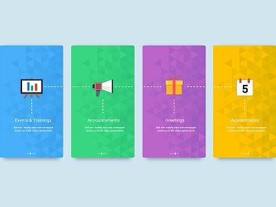 Walkthrough screens for a fitness app iphone app android app material design flat colors intro walkthrough