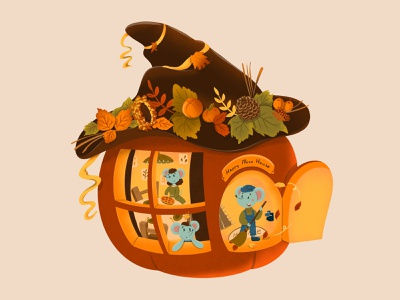 The day before Halloween digital art cute images cozy character cartoon illustration childrens illustration book illustrations