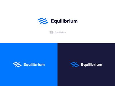 Logo proposal for Equilibrium symbol flag wave dark blue blue and black blue and white blue equilibrium logodesign logotype logo design logo