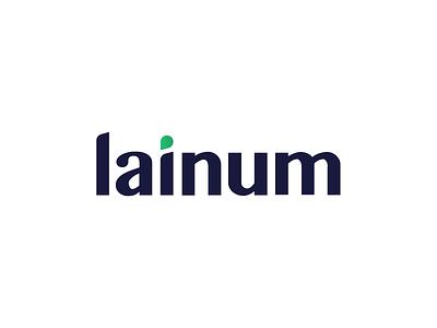 Logo proposal for Lainum rounded corners round smooth droplet drop typographic typogaphy dark blue green logodesign logotype logo design logo