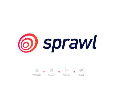 Logo proposal for Sprawl rounded round dark blue blue red circle logo circles speed network topology whirlpool concept logo concept logodesign logotype logo design logo