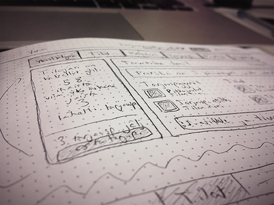 Dribbble ux ui drawing pencil paper interface design venuu