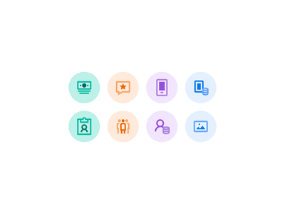 Icons for a client small modern colorful color icons8 pastel iconography icons icon