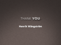 Thank You Henrik Wängström