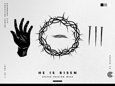 Easter Passion Week risen branding illustration design jesus christ wip hand drawn religious religion luke 24:1 elevation abundant life procreate hand crown of thorns easter jesus christian