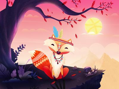 Hello Dribbble! hellodribbble illustratio 风景 dribbble fox illustration