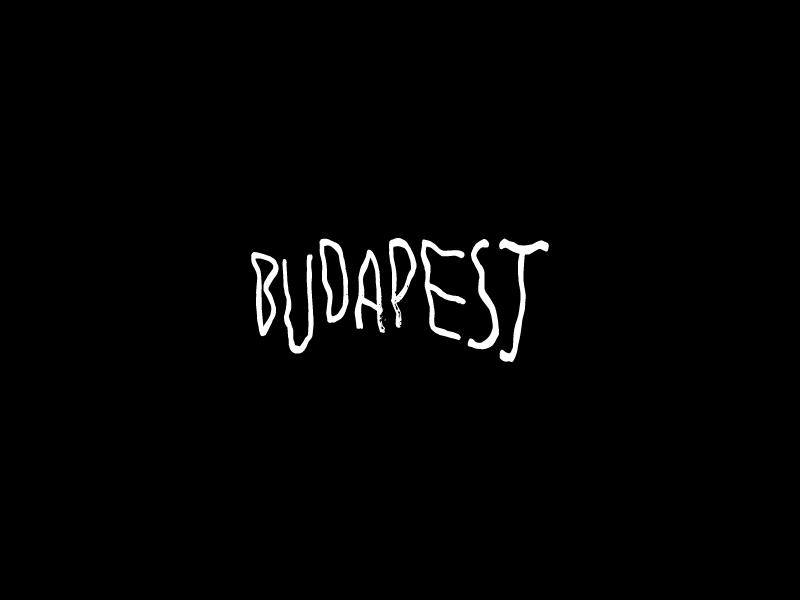 Budapest Typo symbol black identity logo brush handwritten typography