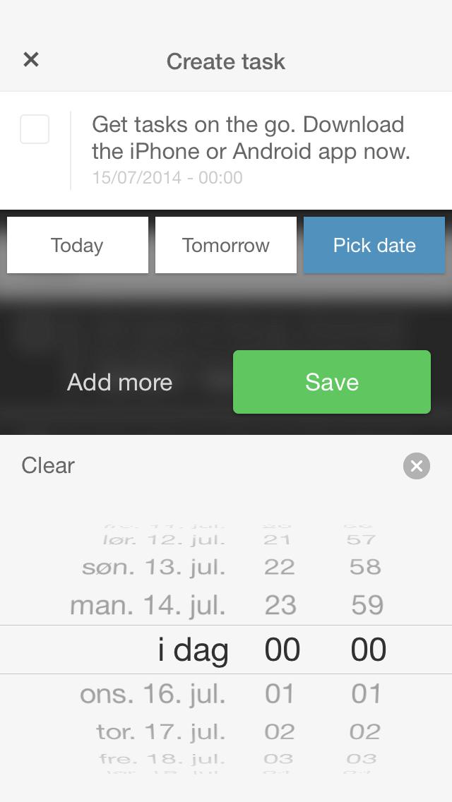 Create task filled date