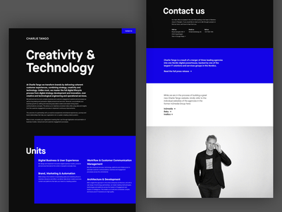 Charlie Tango technology creativity agency ui dark website