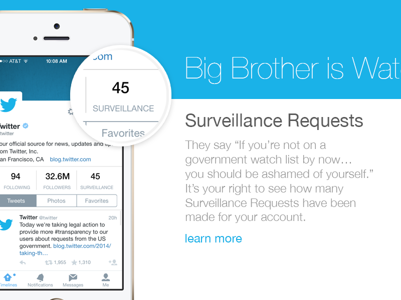 New Twitter Surveillance Request Feature twitter surveillance big brother rights