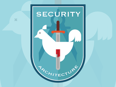 Security Chicken security architechure badge logo chicken