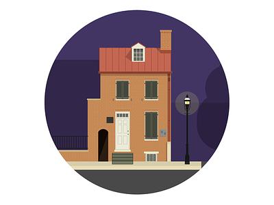 Edgar Allen Poe House - Baltimore illustration house baltimore