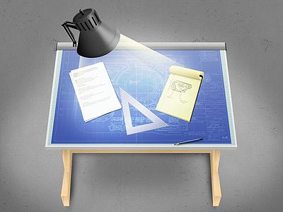 Drafting Table Icon icon illustration