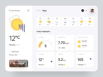 Weather App ui minimal interaction creative cards art typography icons application widgets chart graphics data dashboard website web design product design weather