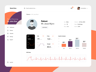 Real-time Patient Monitoring Dashboard clean interaction inpration cards ui  ux web product design doctor health app health medicine science chart graphics patient data monitoring care smart dashboard