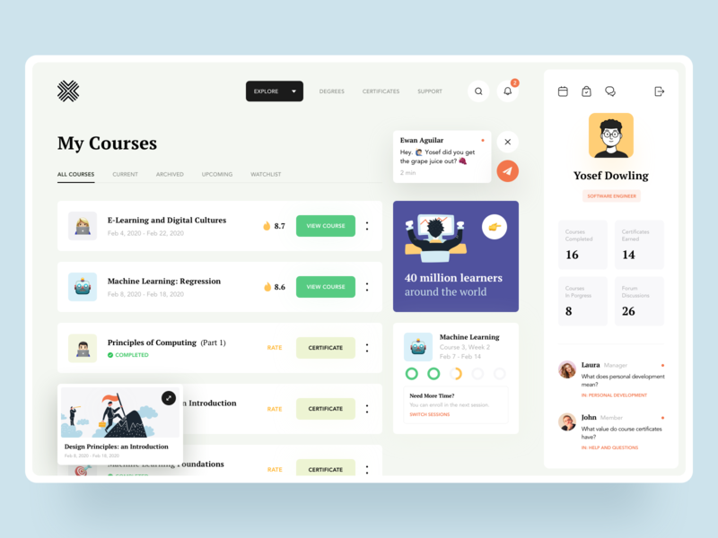 Top Online Courses 2020 cards learning platform minimal data graphics profile web website product design product art illustration courses learning education dashboard ui