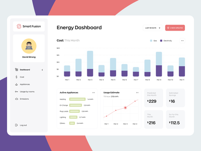 Smart Energy Monitoring Dashboard landing page minimal web design website app prouct design ux ui interaction data visualization data graphics energy dashboard ui monitoring smart dashboard