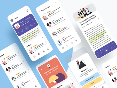 Podcast App inspiration creative branding interaction clean ui minimal player cards icons illustration art product design product mobile app mobile dashboard podcasting podcast