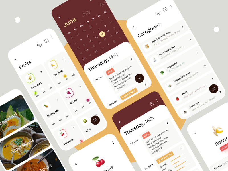 Nutrition and Diet Application interaction minimal ux ui serving product design mobile ios illustration icons graphics diary calendar vegetables food nutrition diet dashboard