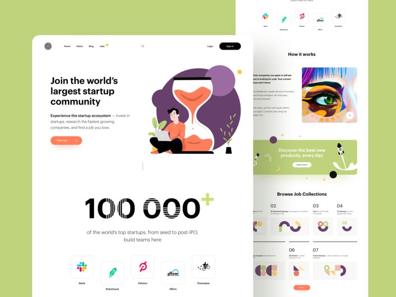 Grow your career. Landing Page creative vector minimal cards art illustration business blog platform ux ui startup career job product design website web landing page