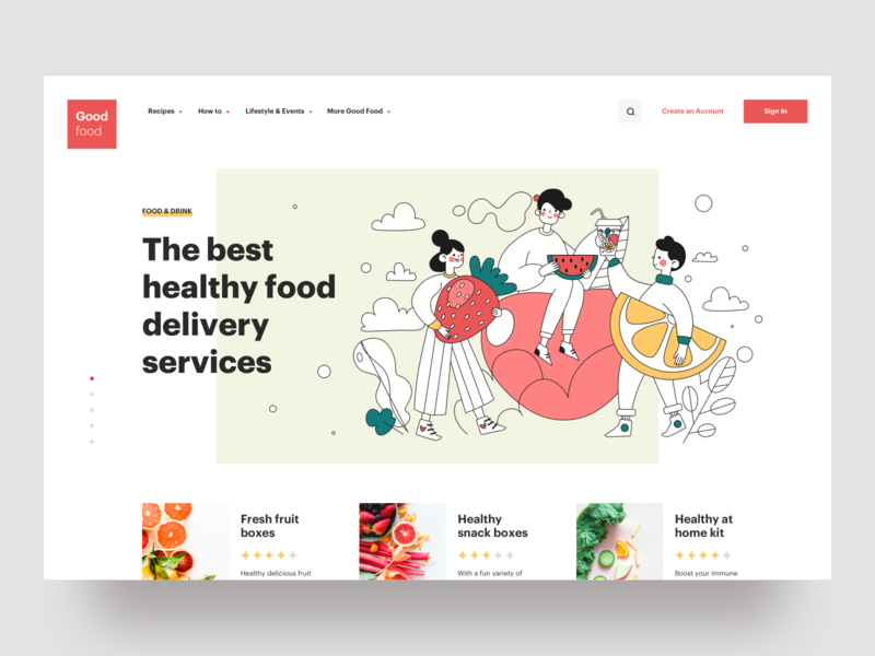 The best healthy food delivery services creative typography minimal website web interface graphics cooking ux ui icons vector illustration services product design landing page food delivery