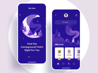 The best camping companion for your smartphone. sky night creative minimal home page multicolor art illustration awsmd onboarding app design product design mobile ux ui camping camp